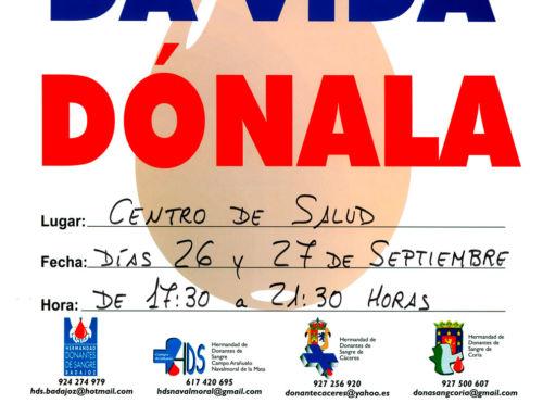 El martes 26 y miércoles 27 de septiembre, nuevas recolectas de sangre en Campanario