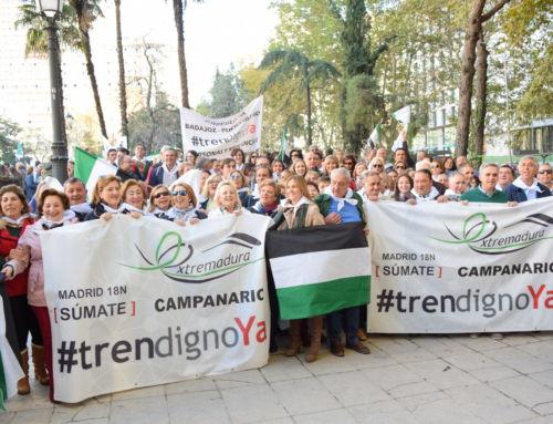 Unos 130 campanarienses alzan la voz en Madrid por un tren digno para Extremadura