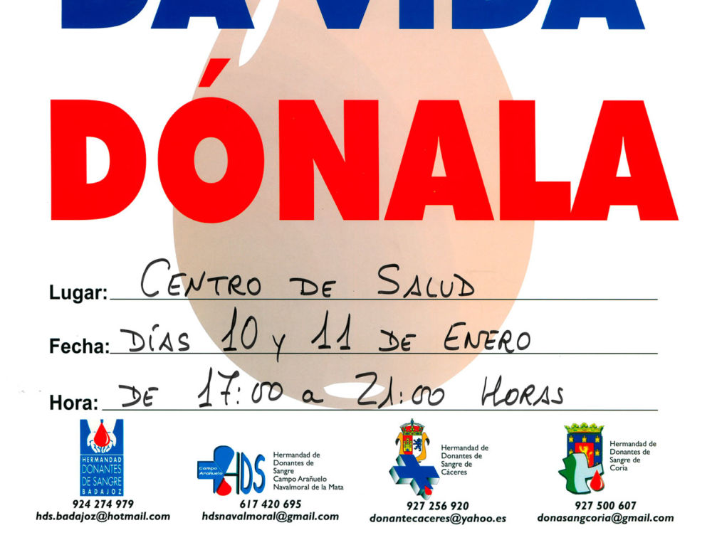 Primera campaña del año en Campanario para la donación de sangre, los días 10 y 11 de enero