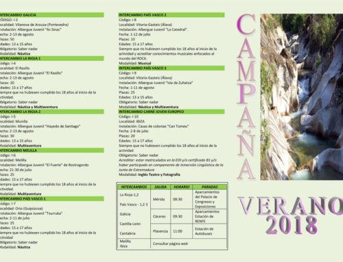 Abierto el plazo de solicitud de plazas para los campamentos e intercambios de la Campaña de Verano 2018