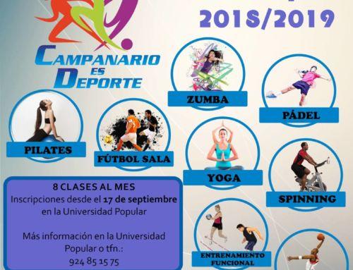 Cursos deportivos municipales 2018/2019: el 17 de septiembre se abre la inscripción
