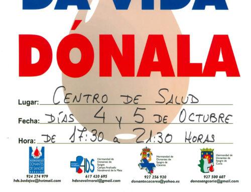 Tercera campaña del año en Campanario para la donación de sangre, los días 4 y 5 de octubre