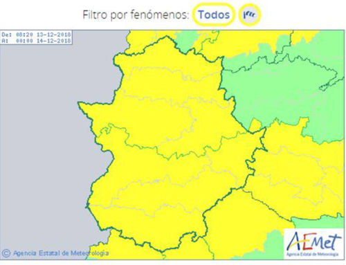 Aviso por tormentas y viento este jueves en la provincia de Badajoz