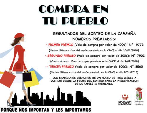 """Resultados del sorteo de la VI campaña """"Compra en tu pueblo"""""""