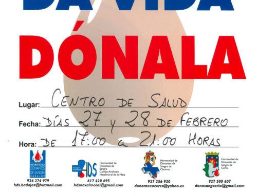 Primera campaña del año en Campanario para la donación de sangre, los días 27 y 28 de febrero