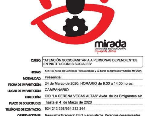 """Curso de """"Atención Sociosanitaria a Personas Dependientes en Instituciones Sociales"""" en Campanario"""