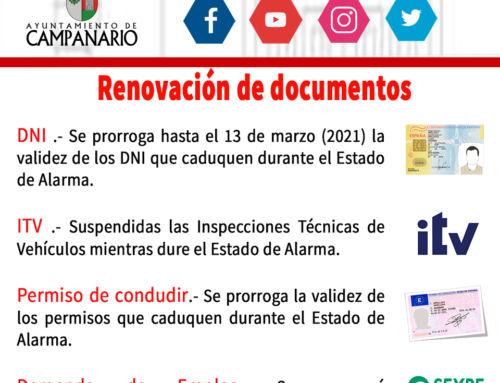 Renovación de documentos durante el Estado de Alarma