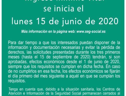 Ingreso Mínimo Vital: se abrirá el plazo de solicitudes el 15 de junio de 2020