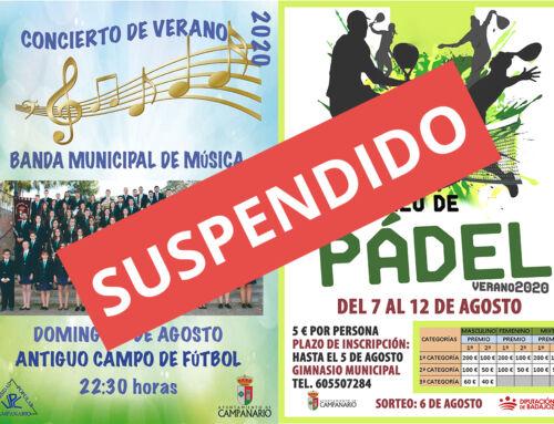 El Ayuntamiento suspende el concierto de la Banda Municipal de Música y el Torneo de Pádel