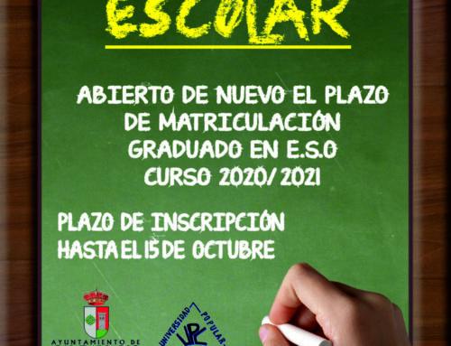 Abierto hasta el 15 de octubre el plazo de matriculación para el graduado en ESO