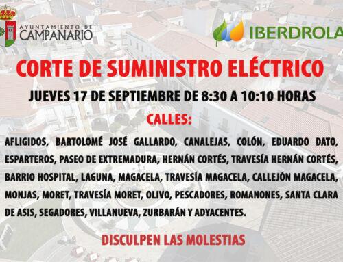 Corte de suministro eléctrico en varias calles de Campanario el día 17 de septiembre