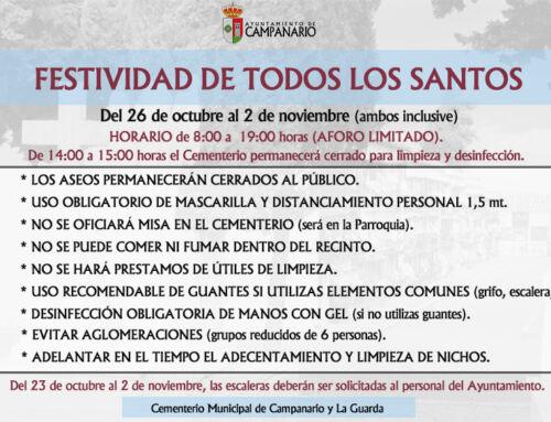 Festividad de Todos los Santos: protocolo del Ayuntamiento para una visita segura al Cementerio