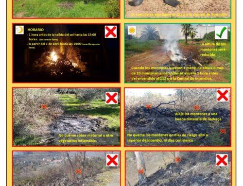 El Servicio de Prevención y Extinción de Incendios Forestales insta a la quema responsable de restos vegetales