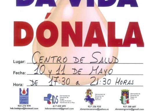 Campaña donación de sangre en Campanario: 10 y 11 de mayo