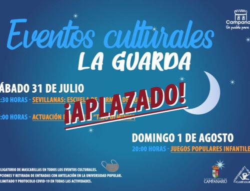 Aplazados los eventos culturales de este fin de semana en La Guarda