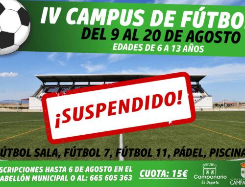 El Ayuntamiento suspende el Campus de Fútbol de verano